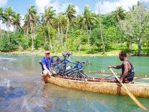 bikes on a canoe